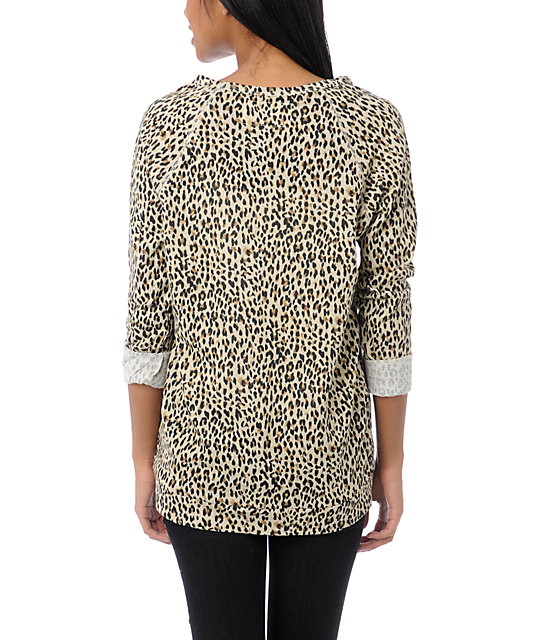 Obey Echo Mountain Leopard Print Crew Neck Sweatshirt