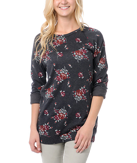Obey Echo Mountain Navy Floral Print Crew Neck Sweatshirt