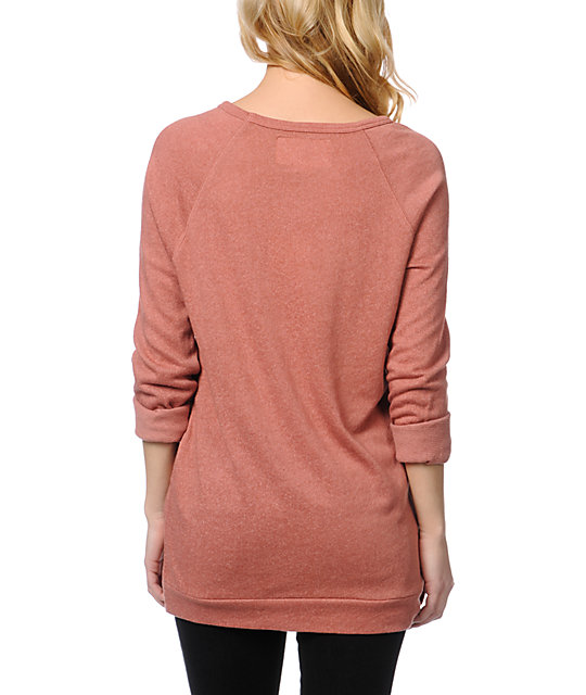 Obey Echo Mountain Rust Red Crew Neck Sweatshirt