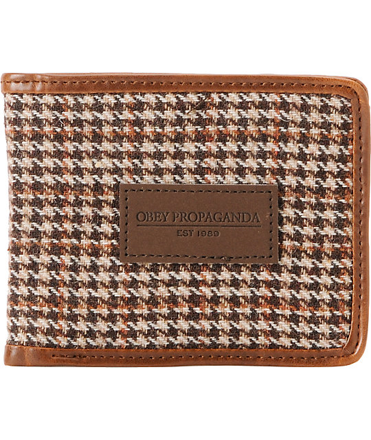 Obey Embankment Brown Houndstooth Bifold Wallet