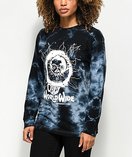 Obey End Of The World camiseta negra de manga larga con efecto tie dye