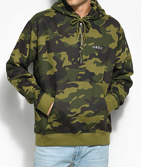 Obey Ennet Camo Anorak Hoodie ...