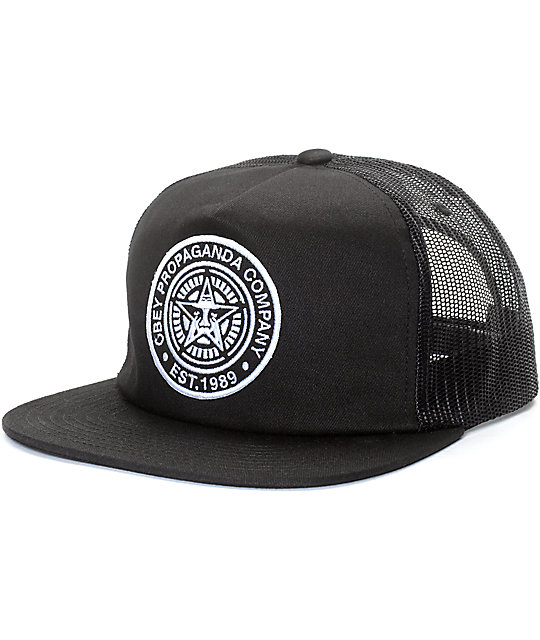 Obey Established 89 Black Trucker Hat