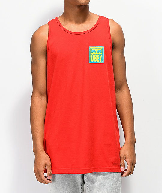 Obey Eyes Icon camiseta roja sin mangas