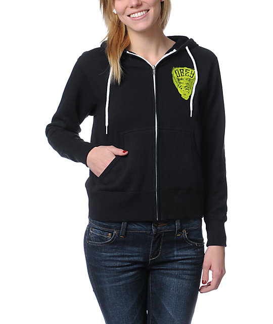 Obey Facing Dynamite Black Zip Up Hoodie