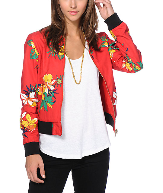 Obey Fast Times Red Print Reversible Bomber Jacket