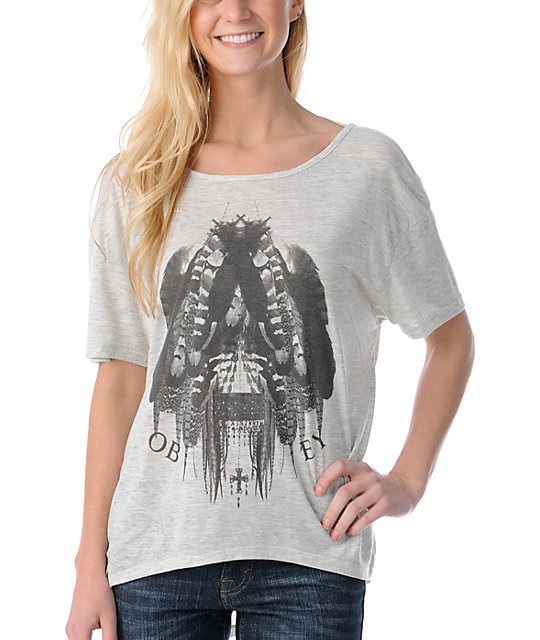 Obey Feathers White Low Back T-Shirt