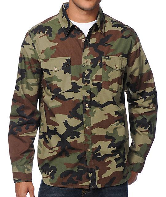 c625294a Obey Field Assassin Camo Long Sleeve Button Up Shirt | Zumiez