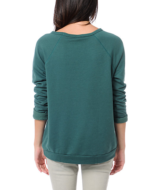 Obey Fiends Forever Pine Green Crew Neck Sweatshirt