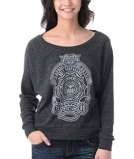Obey Finlandia Charcoal Boyfriend Fit Raglan Top