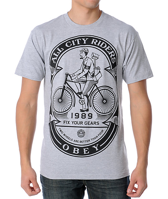 Obey Fix Your Gears Heather Grey T-Shirt