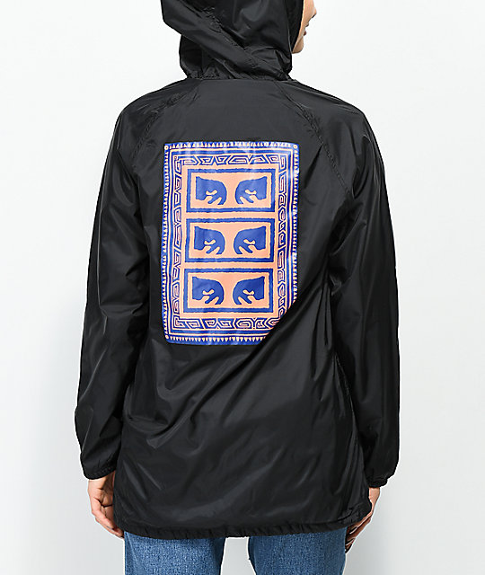 Obey Flash Back Black Hooded Trench Coat Jacket