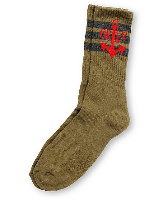 Obey Fleet Army Green Crew Socks