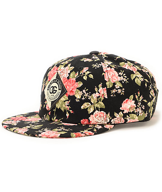 Obey Floral Black Throwback Baseball Strapback Hat  a1311ffc8765