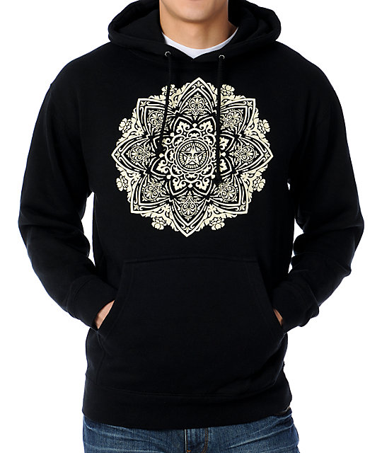 Obey Flower Ornament Black Pullover Hoodie