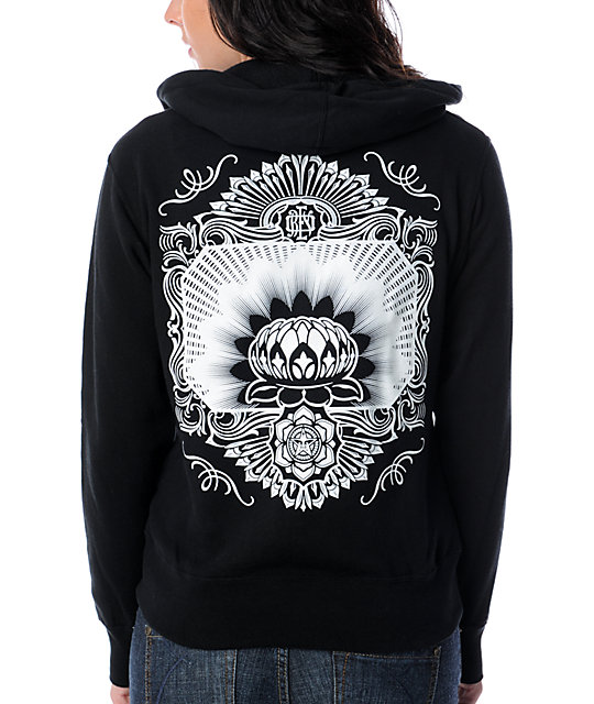 Obey Flower Sheik Glow In The Dark Black Hoodie