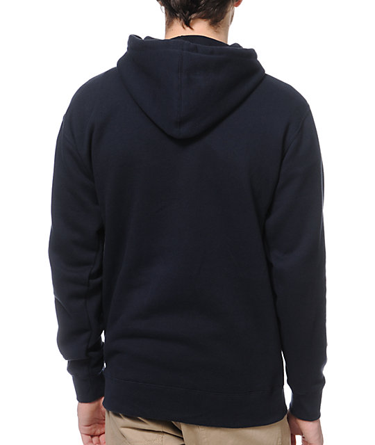 Obey Font Navy & Red Pullover Hoodie