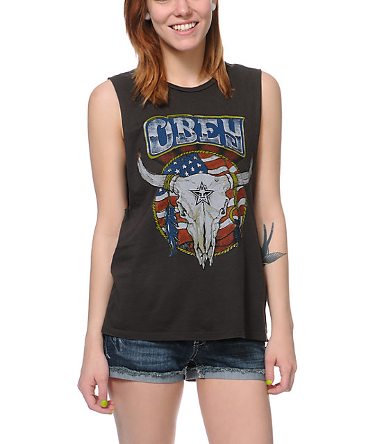 Obey Freedom Skull Charcoal Muscle Tank Top