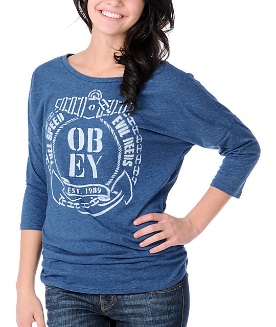 Obey Full Speed Heather Navy Tri-Blend Dolman Top
