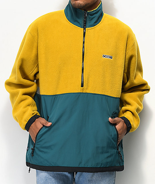 Obey Gallagher chaqueta anorak dorada y verde