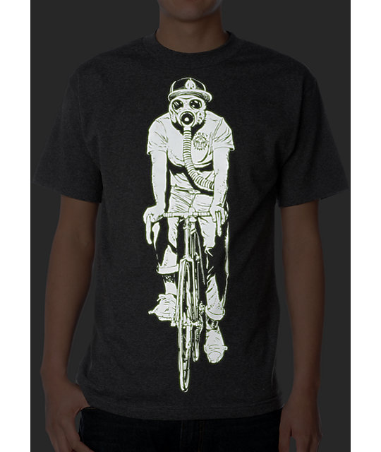 Obey Gas Mask Biker Glow In The Dark Charcoal T-Shirt