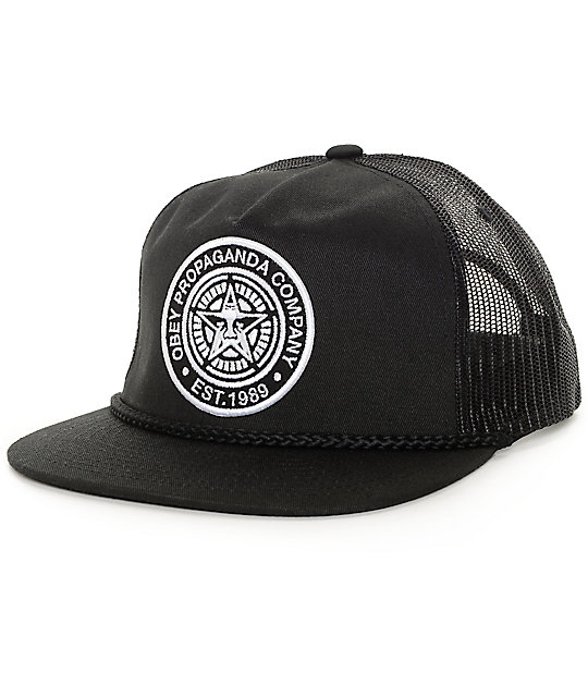bc37c7a243f Obey Giant Black Trucker Hat