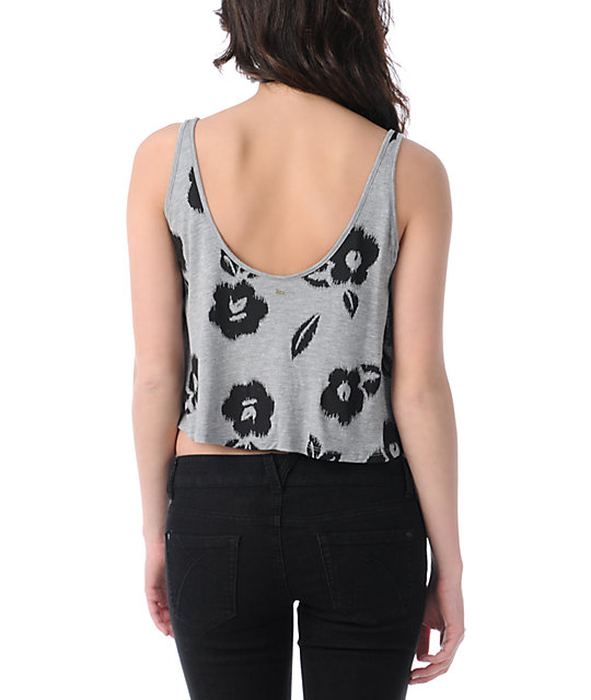 Obey Grey Floral Ikat Crop Tank Top