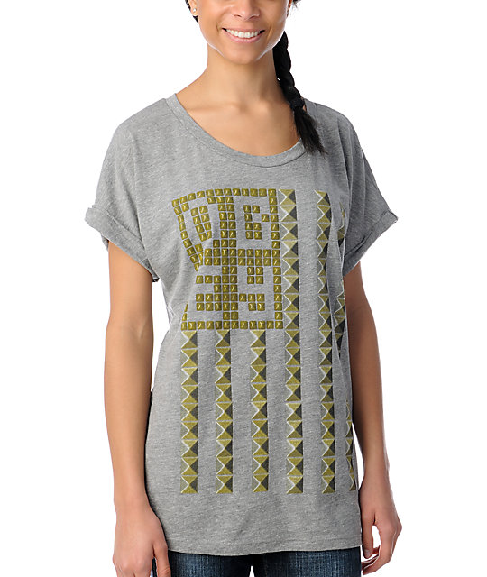 Obey Grey Stud Flag Rolled Sleeve Dolman T-Shirt