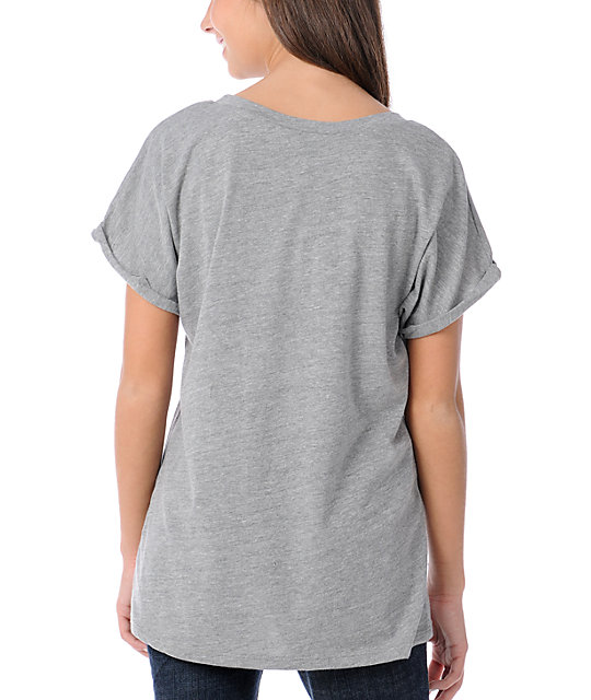 Obey Grey Watch Face Rolled Sleeve Dolman T-Shirt