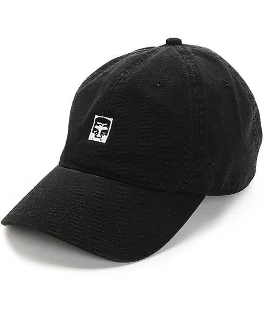 Obey Half Face Icon Black Strapback Hat
