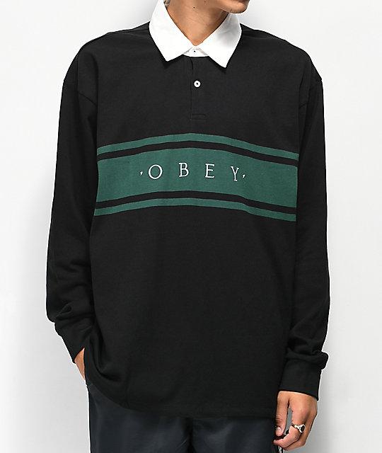 a4a7b1f36 Obey Hero Classic Black & Teal Long Sleeve Polo Shirt | Zumiez