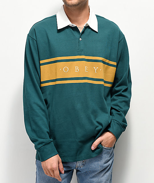 d53caf65 Obey Hero Classic Teal & Gold Long Sleeve Polo Shirt | Zumiez
