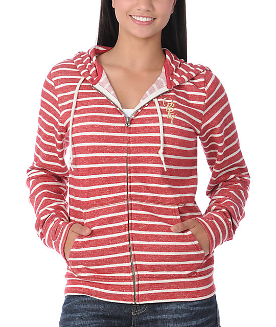 Obey High Fashion Red & Cream Stripe Zip Up Hoodie
