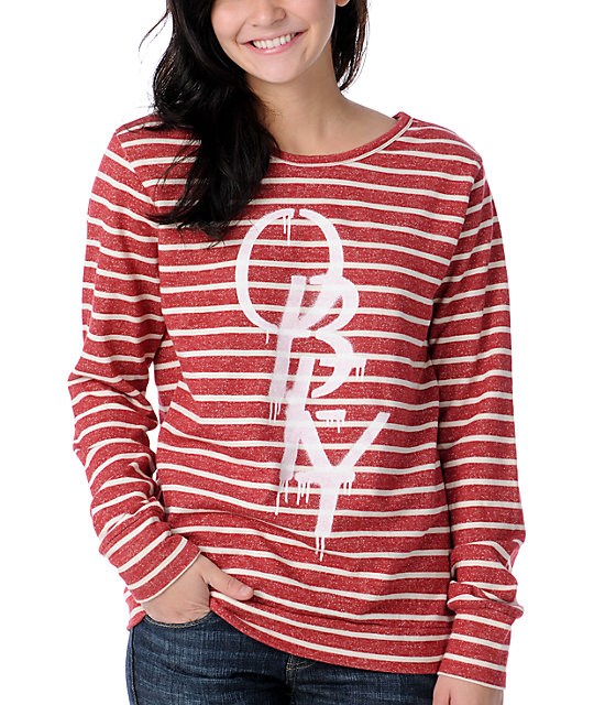 Obey High Fashion Red & White Stripe Sweatshirt
