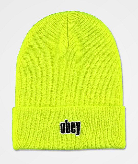 Obey Highlander Safety Green Beanie  bc1bdf0de5d