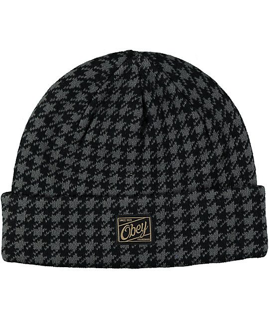 7ce8d4ab36e Obey Houndstooth Beanie