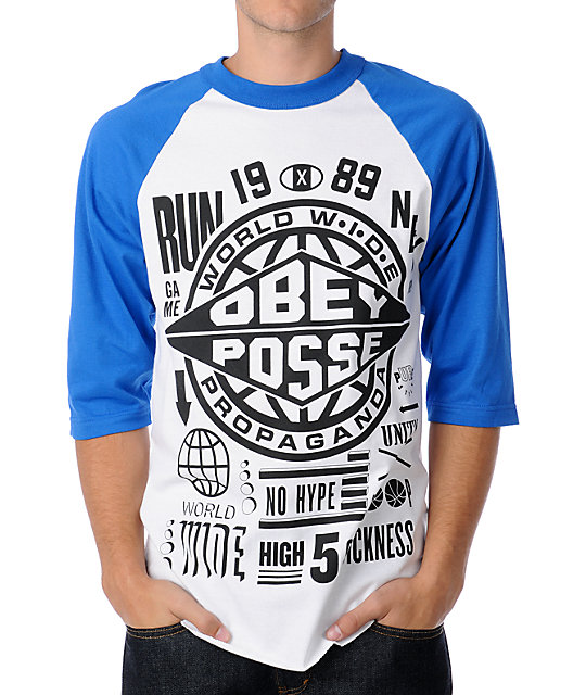 Obey Hyped Up Blue & White Baseball T-Shirt