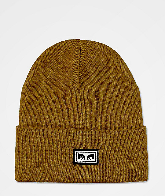 Obey Icon Eyes Bone Brown Beanie