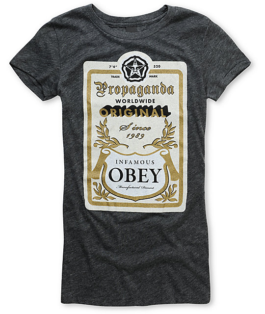 Obey Infamous Heather Black Fitted T-Shirt