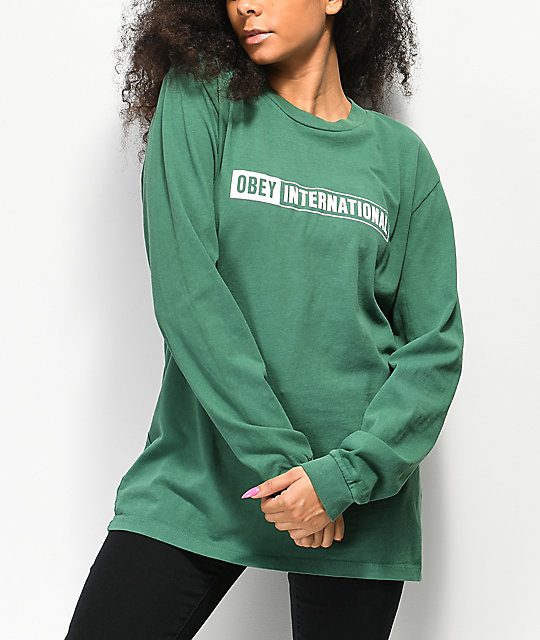 Obey International 2 Box Pigment Green Long Sleeve T-Shirt