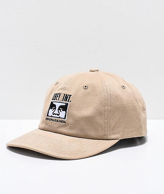 2a4e2a9451e Obey International Khaki Snapback Hat