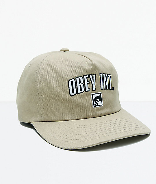 7497e93af72 Obey International Khaki Strapback Hat