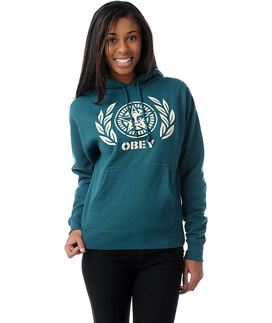 Obey Ivy League Dark Teal Pullover Hoodie