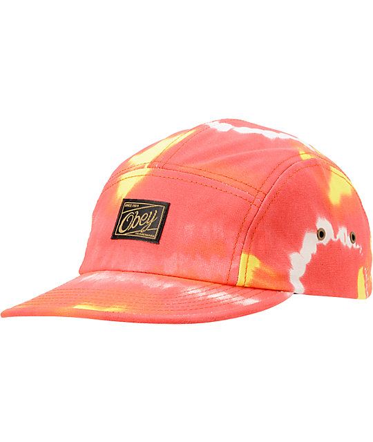 Obey Jerry Tie Dye Red 5 Panel Hat