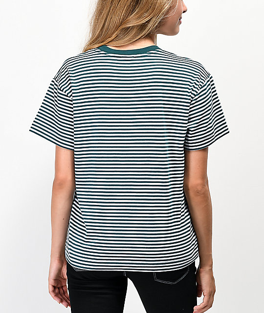 Obey Jive Box Pine Green & White Striped T-Shirt