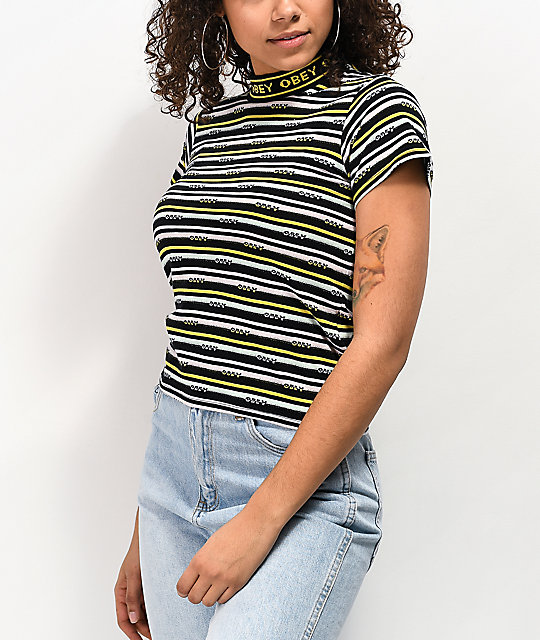 Obey Jules Black, White & Yellow Striped Mock Neck T-Shirt