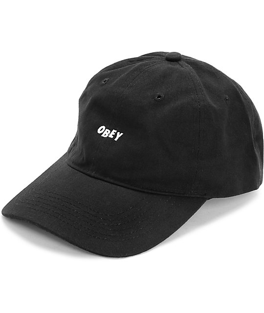 Obey Jumble Black Pigment Dad Hat  86c29515354