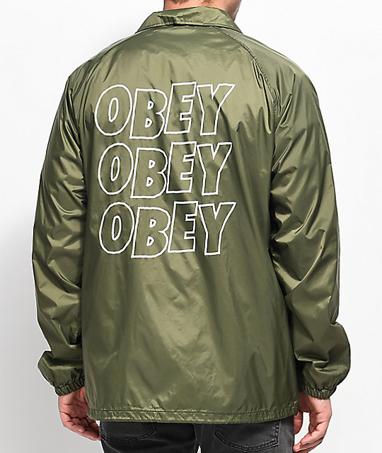 Obey Jumble Lofi Army Green Coaches Jacket ...