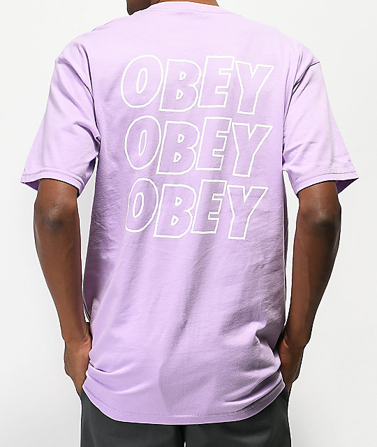 Obey Jumbled Eyes Lavender T-Shirt