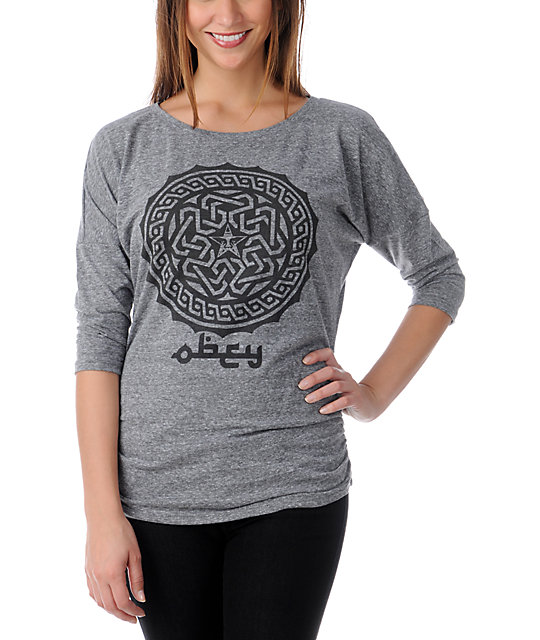 Obey Kalifa Heather Grey Tri-Blend Dolman Top